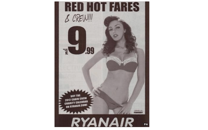 Ryanair Offensive Ad featuring a woman in a bikini