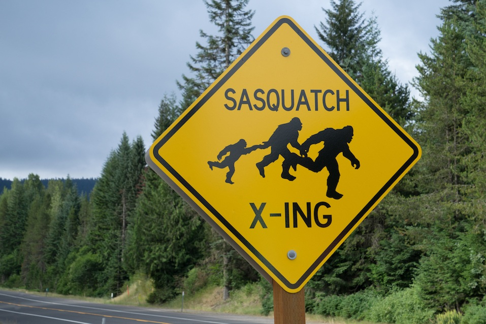 Sasquatch crossing sign in the Oregon wilderness