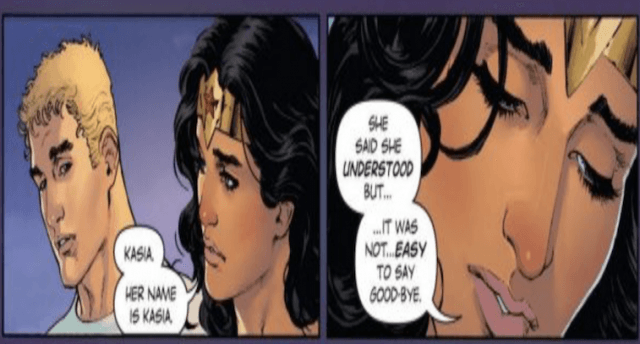 Wonder Woman and Steve talk about Kasia in the comic strip.