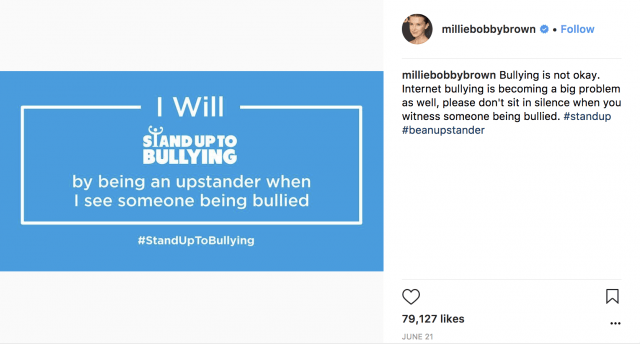 An anti-bullying message from Millie Bobby Brown