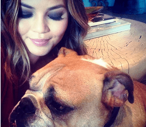 Chrissy Teigen and her dog