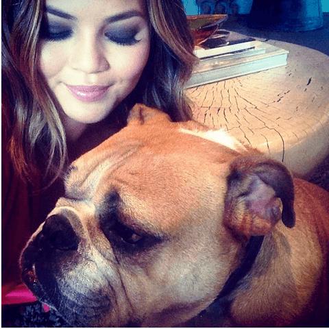 Chrissy Teigen and her dog