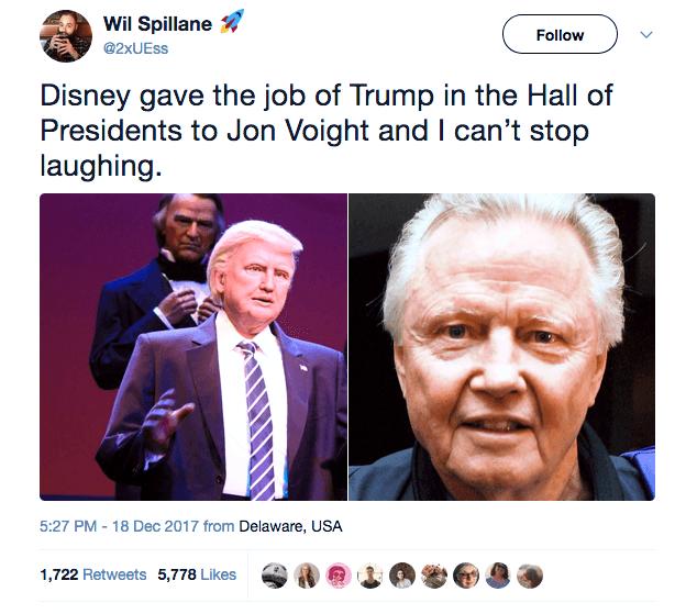 screenshot of Twitter user comparing Donald Trump robot to Jon Voight