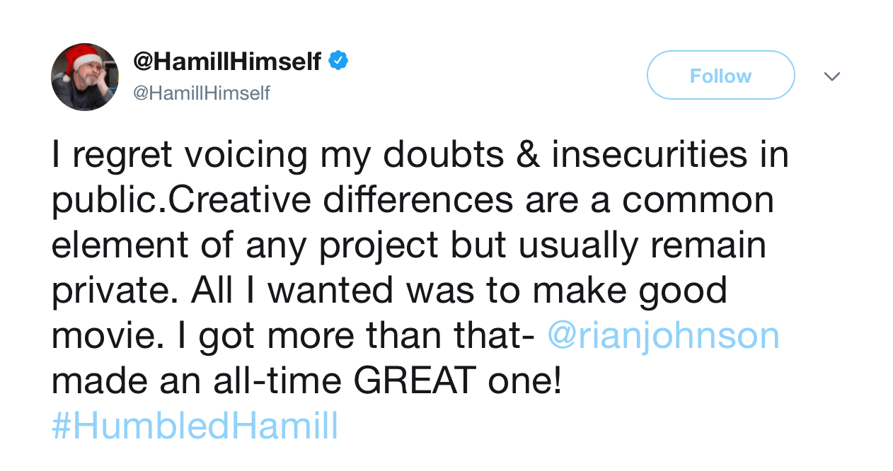 A screenshot of Mark Hamill's twitter