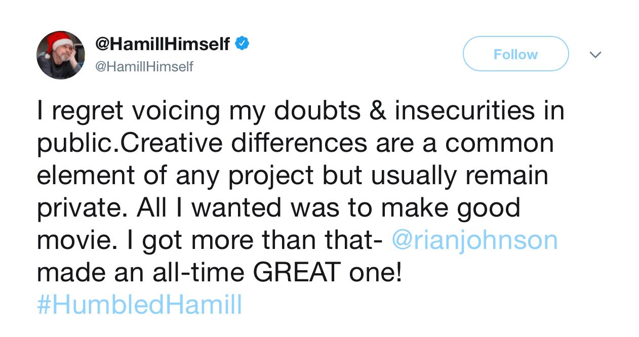 A screenshot of Mark Hamill's twitter