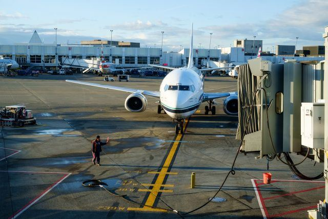 An airplane at the Seattle Tacoma Airport.