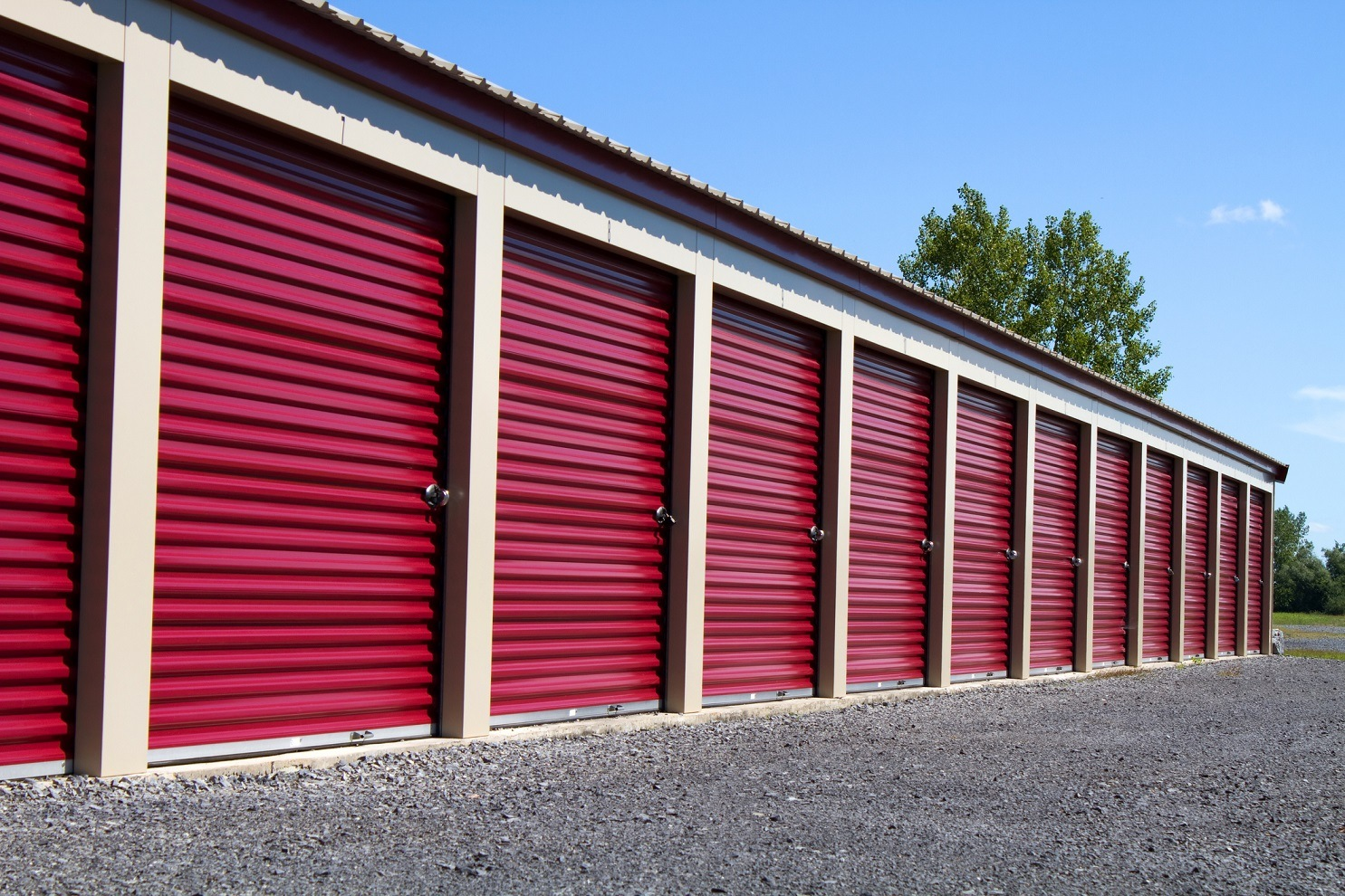 Red Mini Self Storage Rental Units