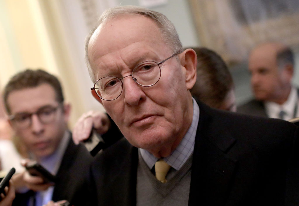 Sen. Lamar Alexander (R-TN) answers questions following the weekly Republican policy luncheon at the U.S. Capitol