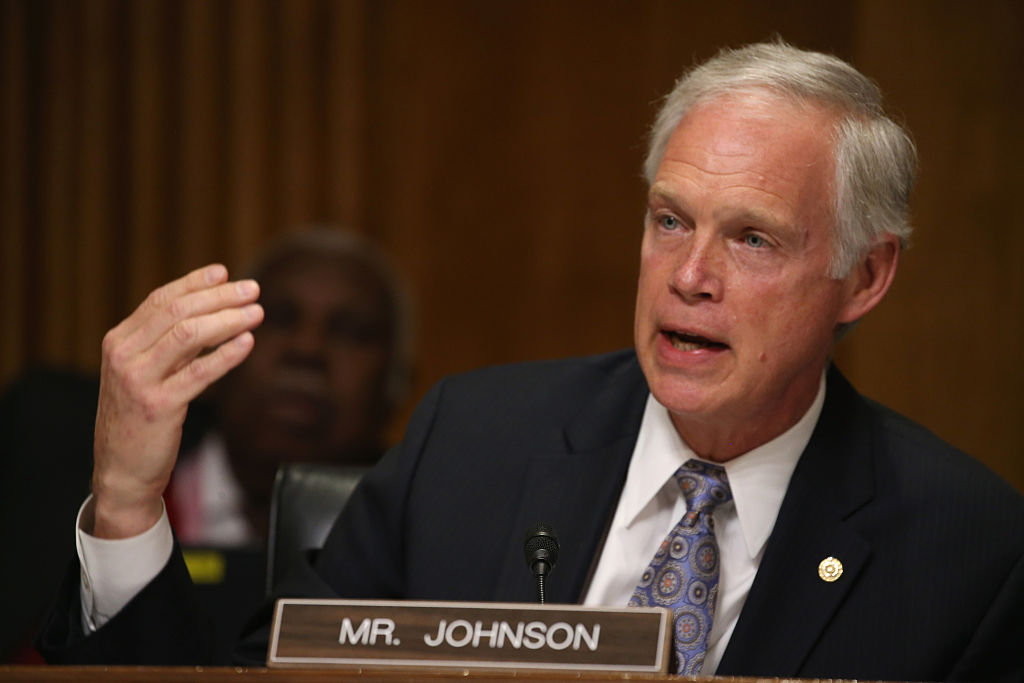 Sen. Ron Johnson (R-WI) participates in a Senate Foreign relations Committee hearing on Capitol Hill
