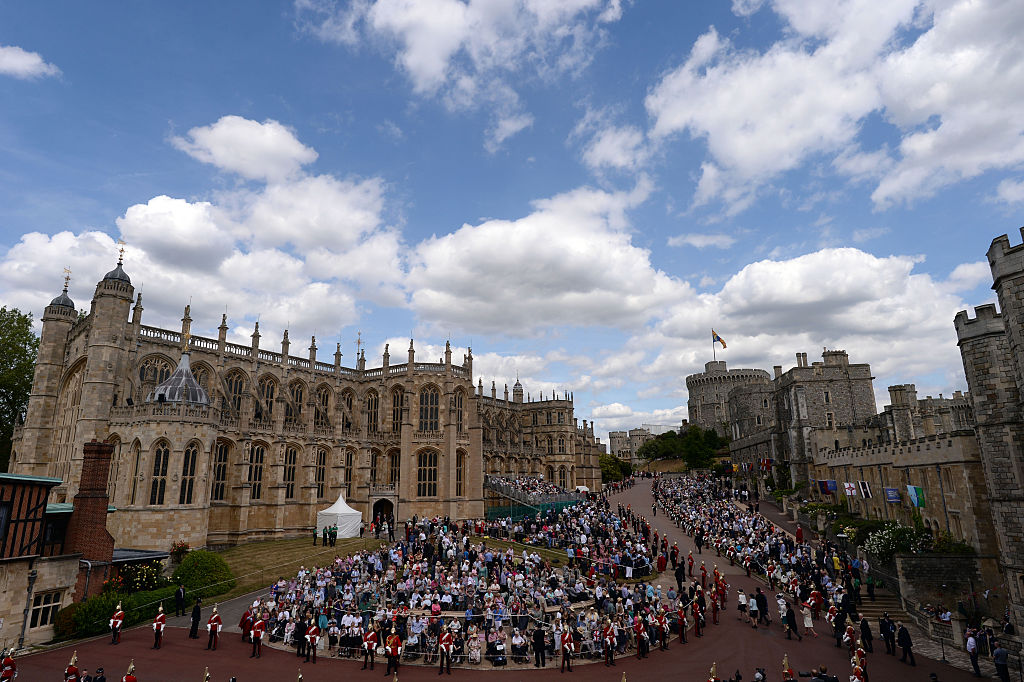 Crowds gather in preparation for the Order of the Garter service at St George's Chapel in Windsor Castle