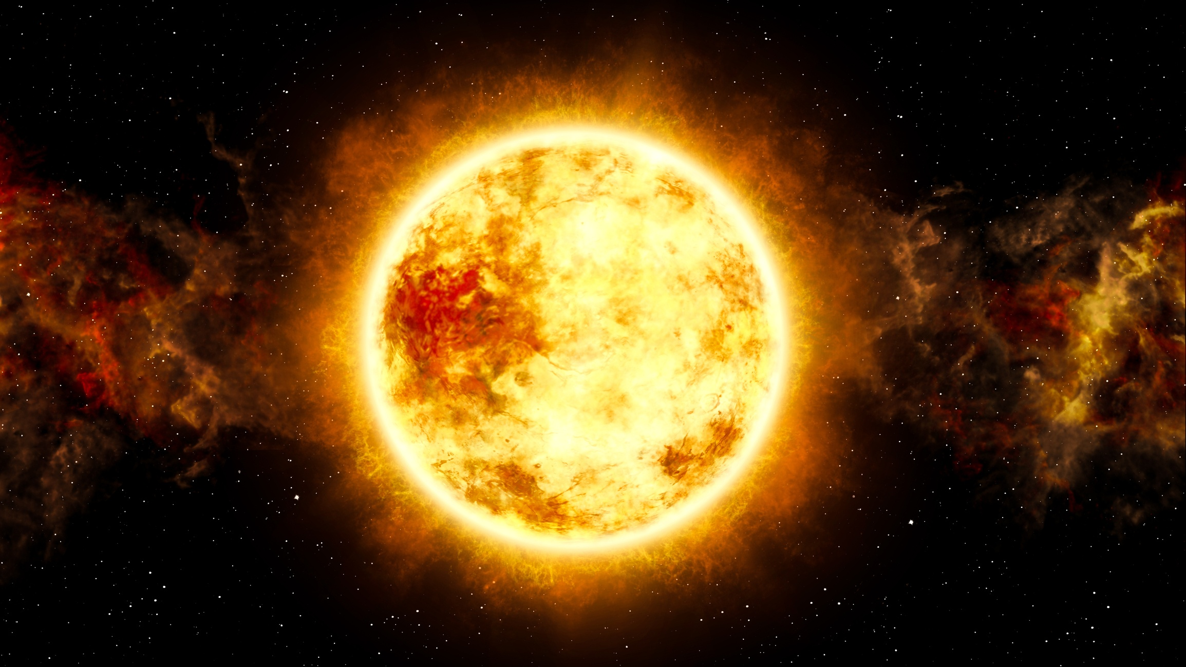 Sun and Star with Cosmic Cloud in Space
