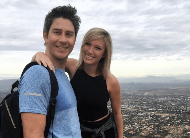 Arie posing with Sidney on a cliff.