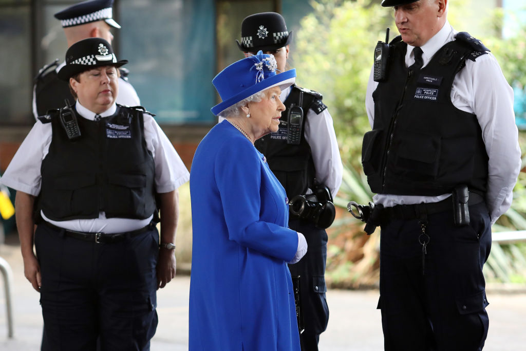 Queen Elizabeth II meets police officers