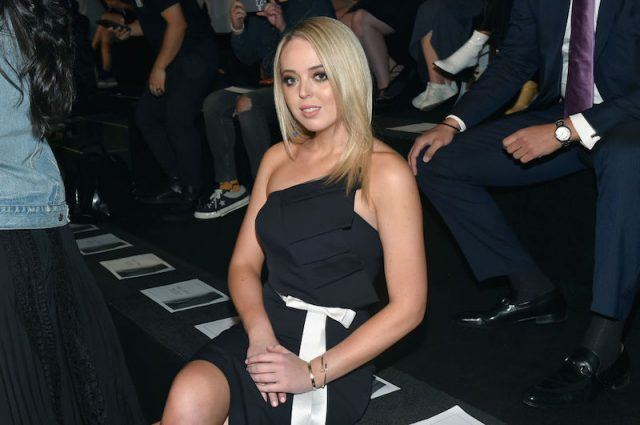 Tiffany Trump posing while seated at a fashion show.