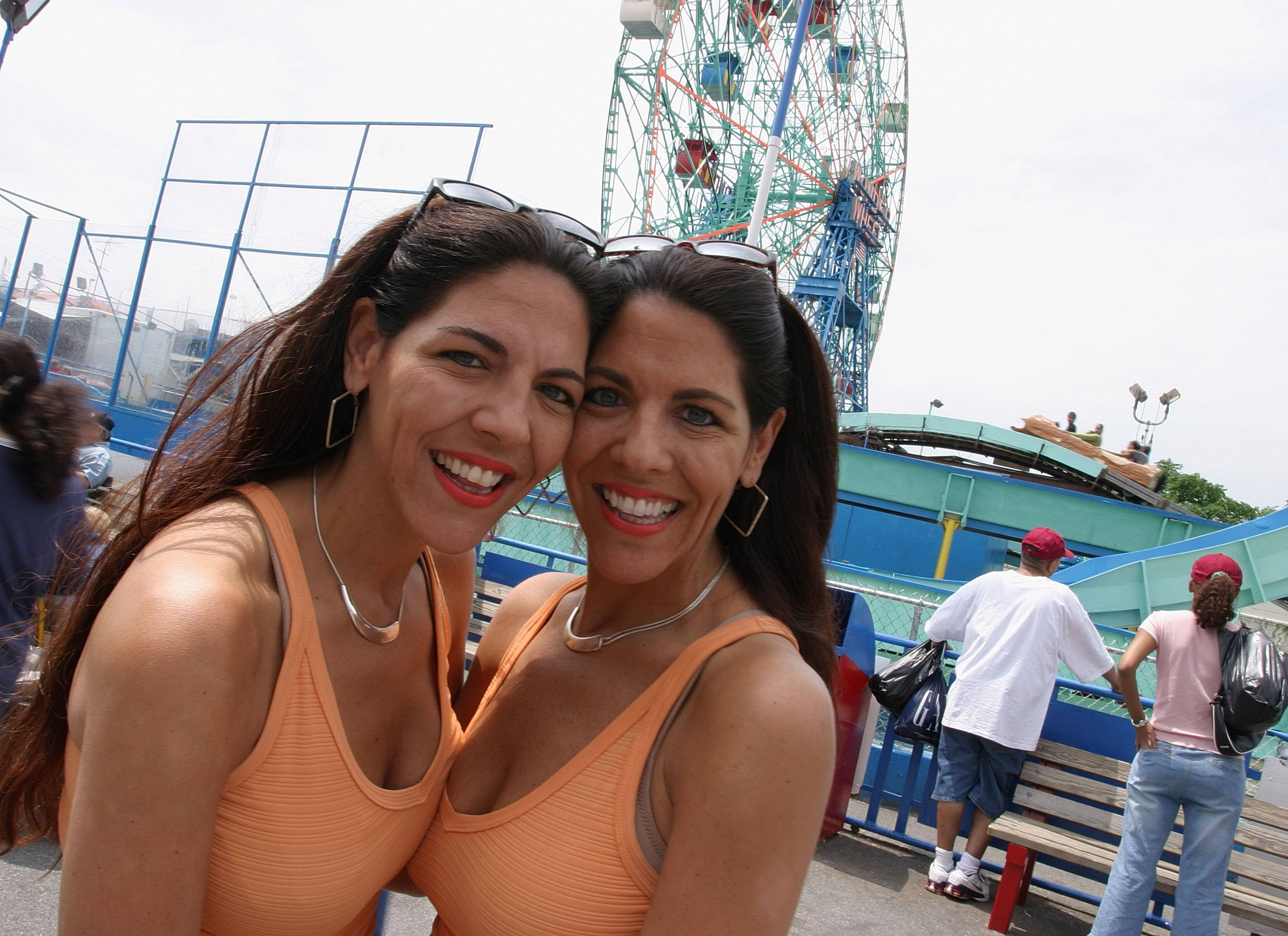 Debbie and Lisa Ganz in front of cony island