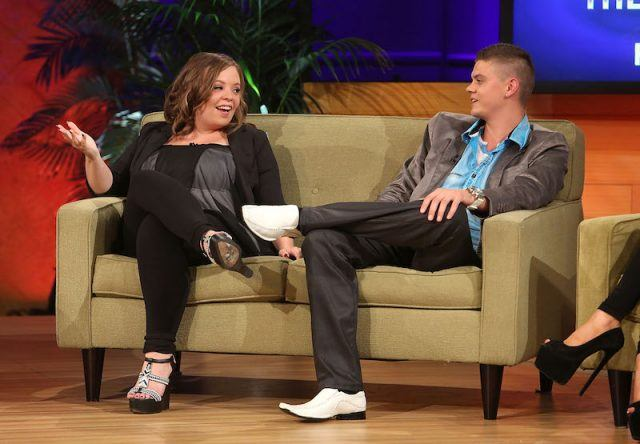 Catelynn and Tyler sit on a couch during an interview.
