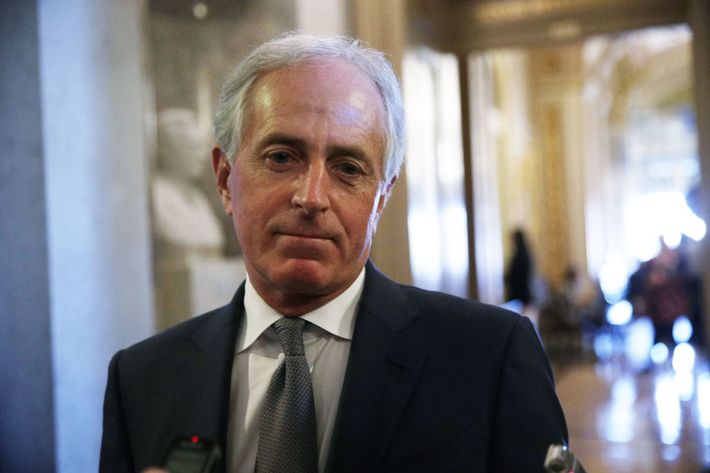 U.S. Sen. Bob Corker (R-TN) speaks to members of the media at the Capitol