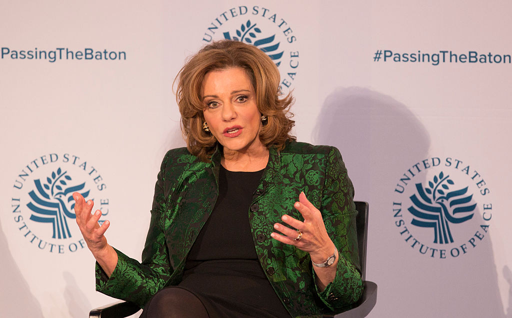 "Kathleen Troia ""K.T."" McFarland, Deputy National Security Advisor Designate speaks during a conference"