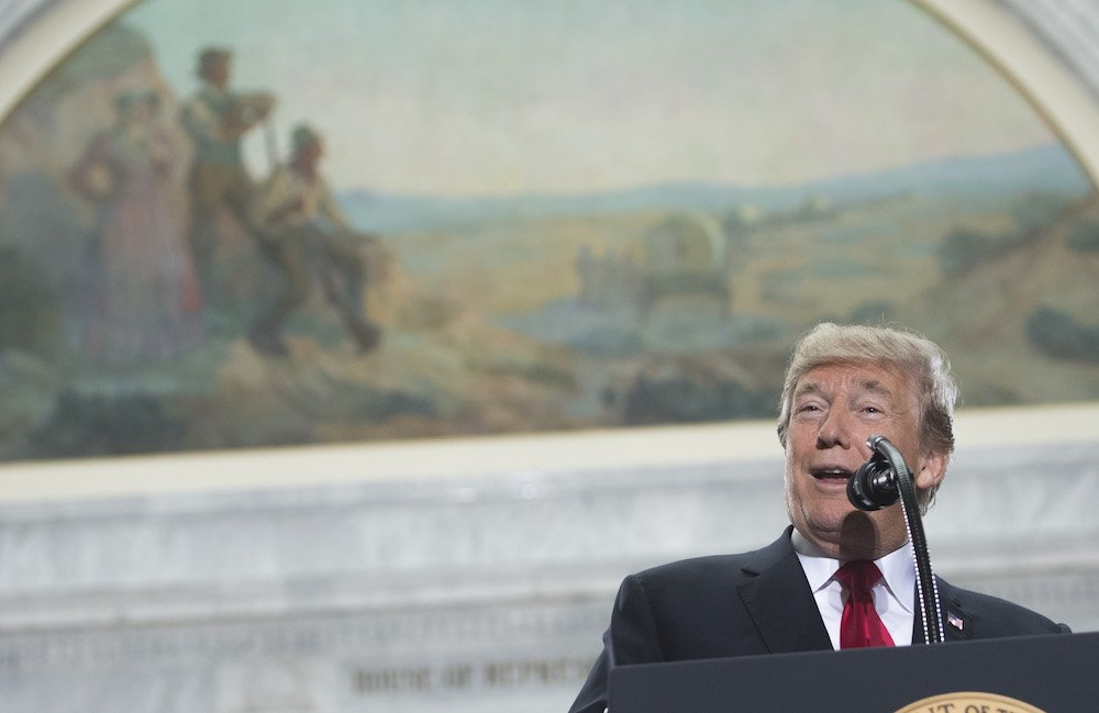 US President Donald Trump speaks prior to signing a Presidential Proclamation shrinking Bears Ears and Grand Staircase-Escalante national monuments