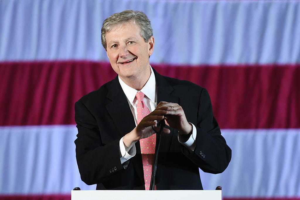 Louisiana Treasurer and Republican Senate candidate John Kennedy speaks at a get-out-the-vote rally