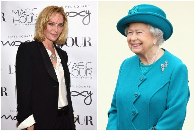 Uma Thurman and Queen Elizabeth.