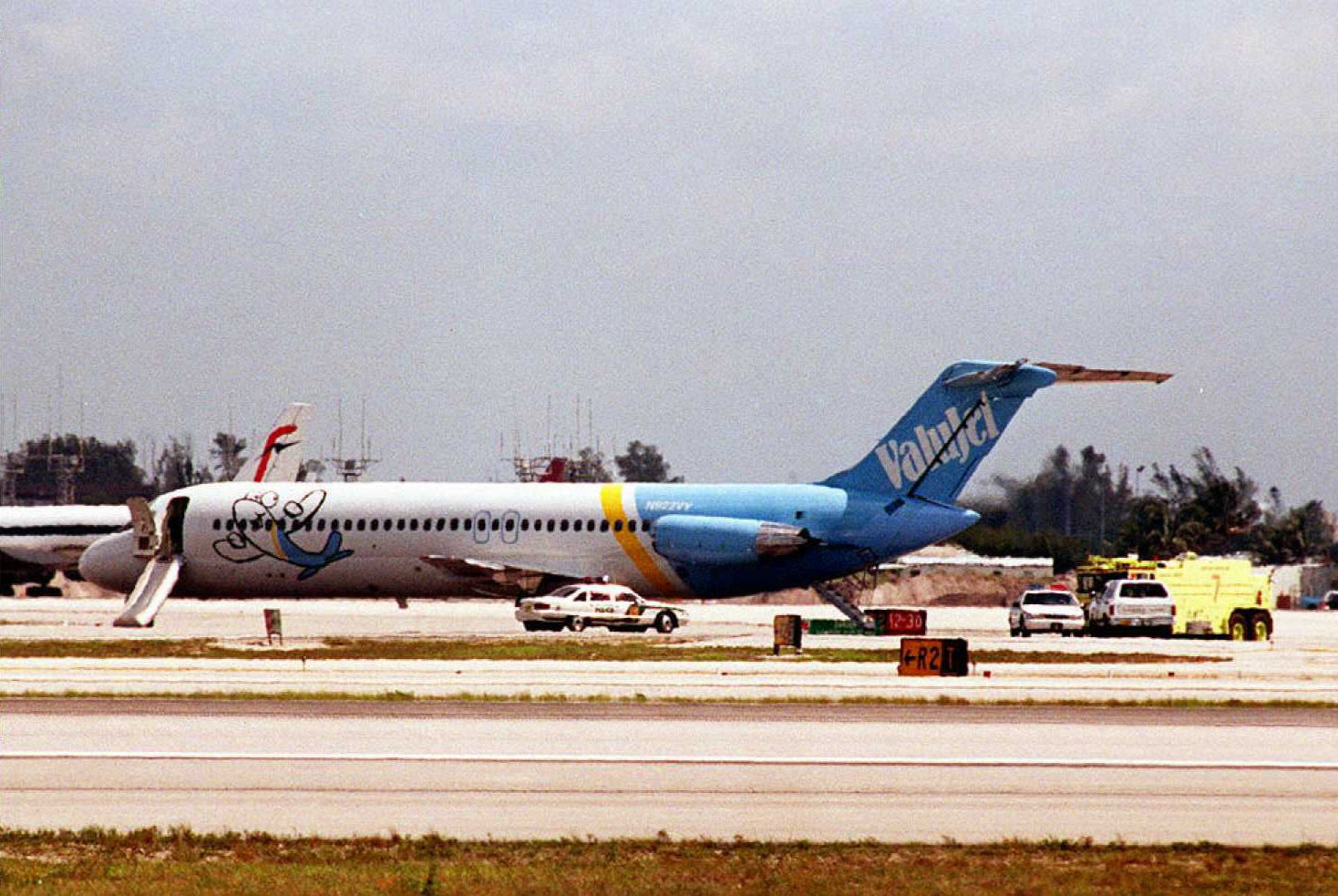 A ValuJet plane sits on the tarmac at Miami Intern