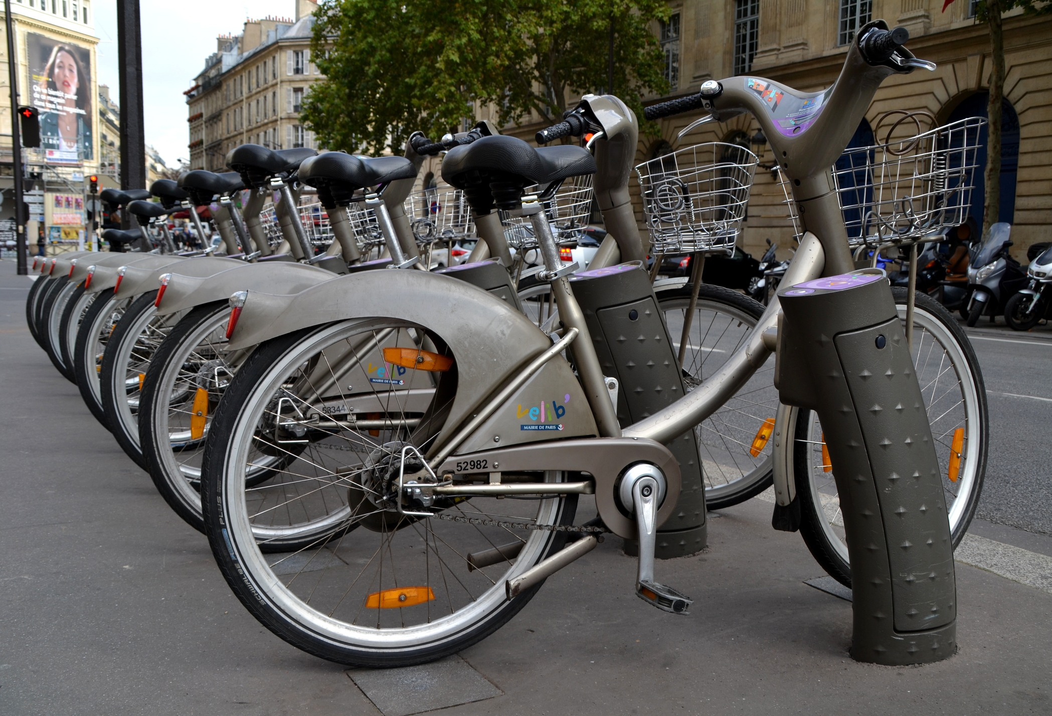 Bicycles of the Velib service in Paris
