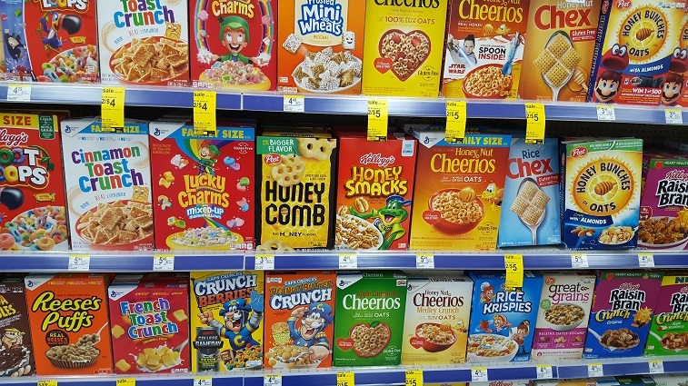selection of cereal in store