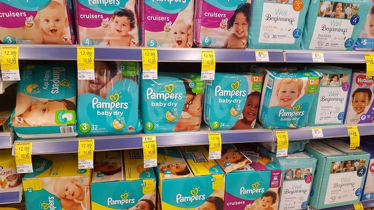 Diapers on drugstore store shelves