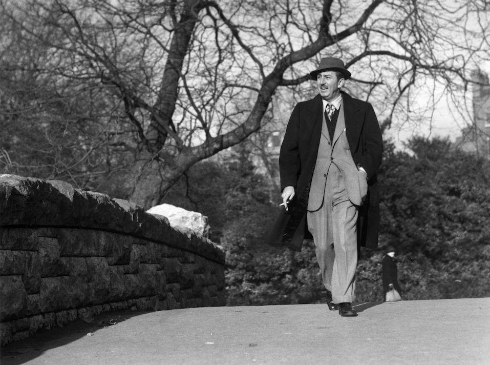 American animator and producer Walt (Walter Elias) Disney walking through St Stephens Green, Dublin