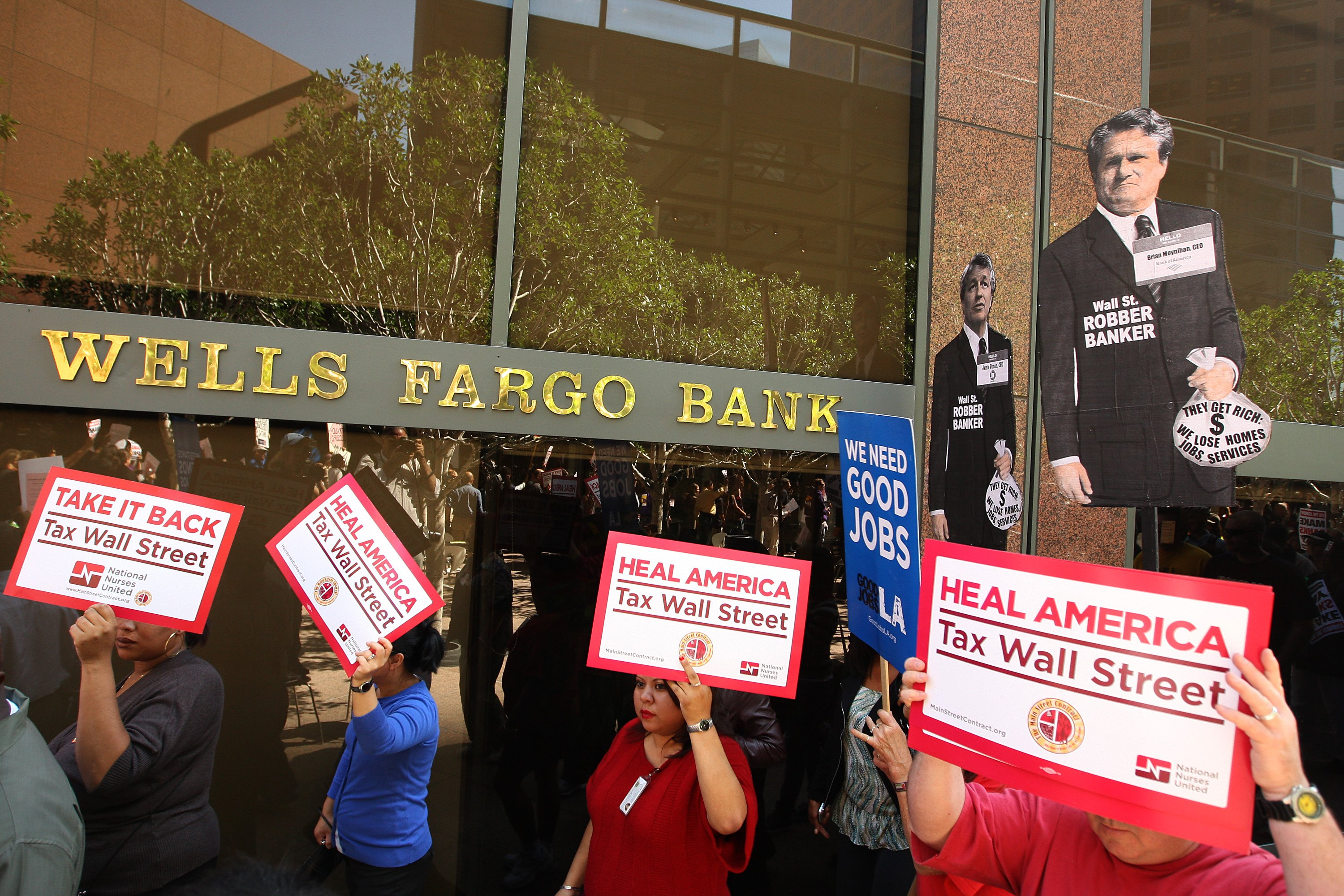 Activists Protest In Front Of Bank In Los Angeles