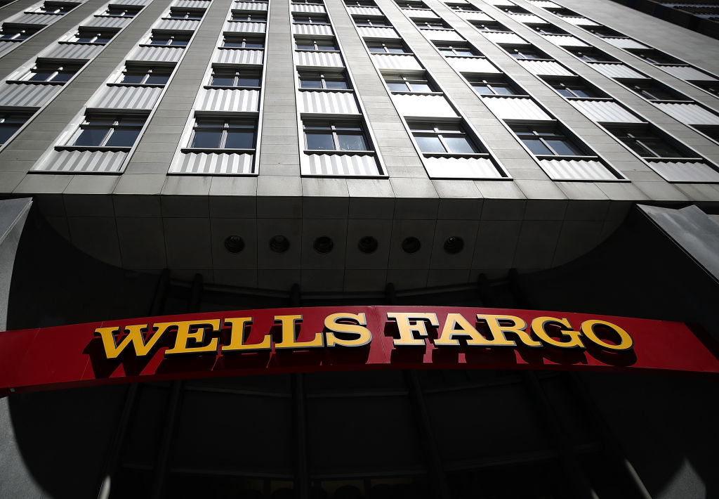 Wells Fargo sign on highrise building