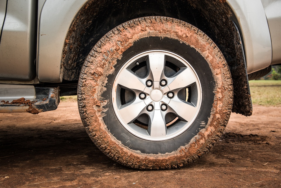 Wheel tire mess up with mud and dirt
