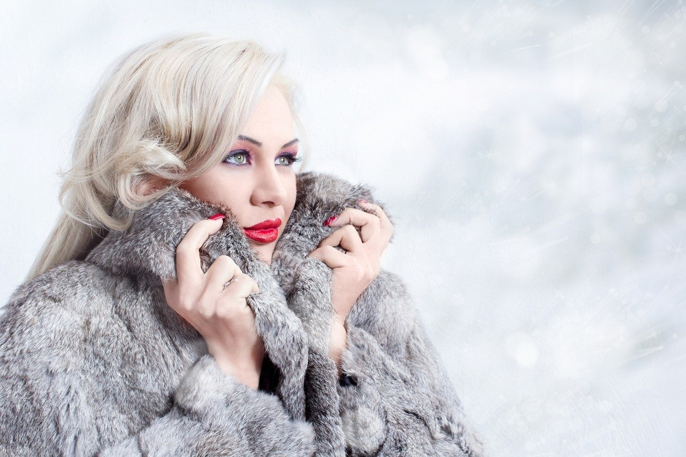 Blonde woman at winter