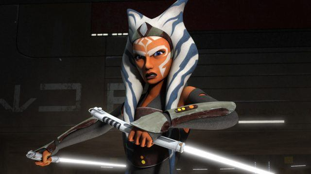 An animated picture of Jedi Ahsoka Tano holding a light saber