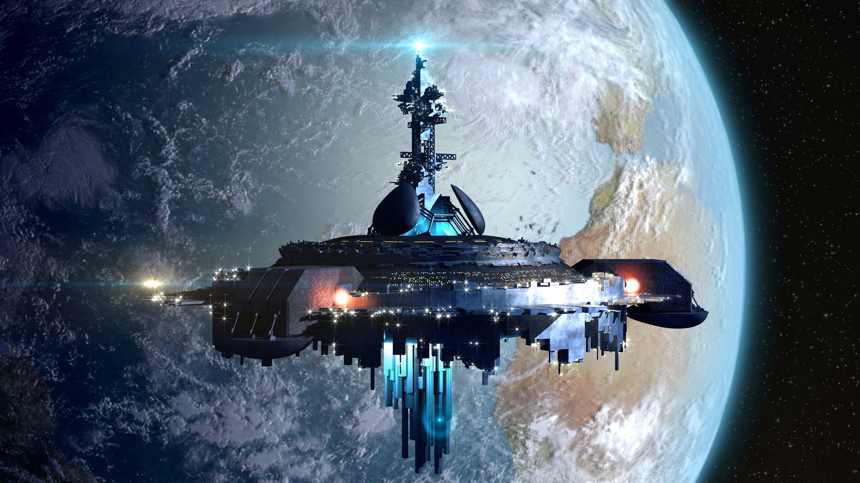 Alien mothership ufo near Earth