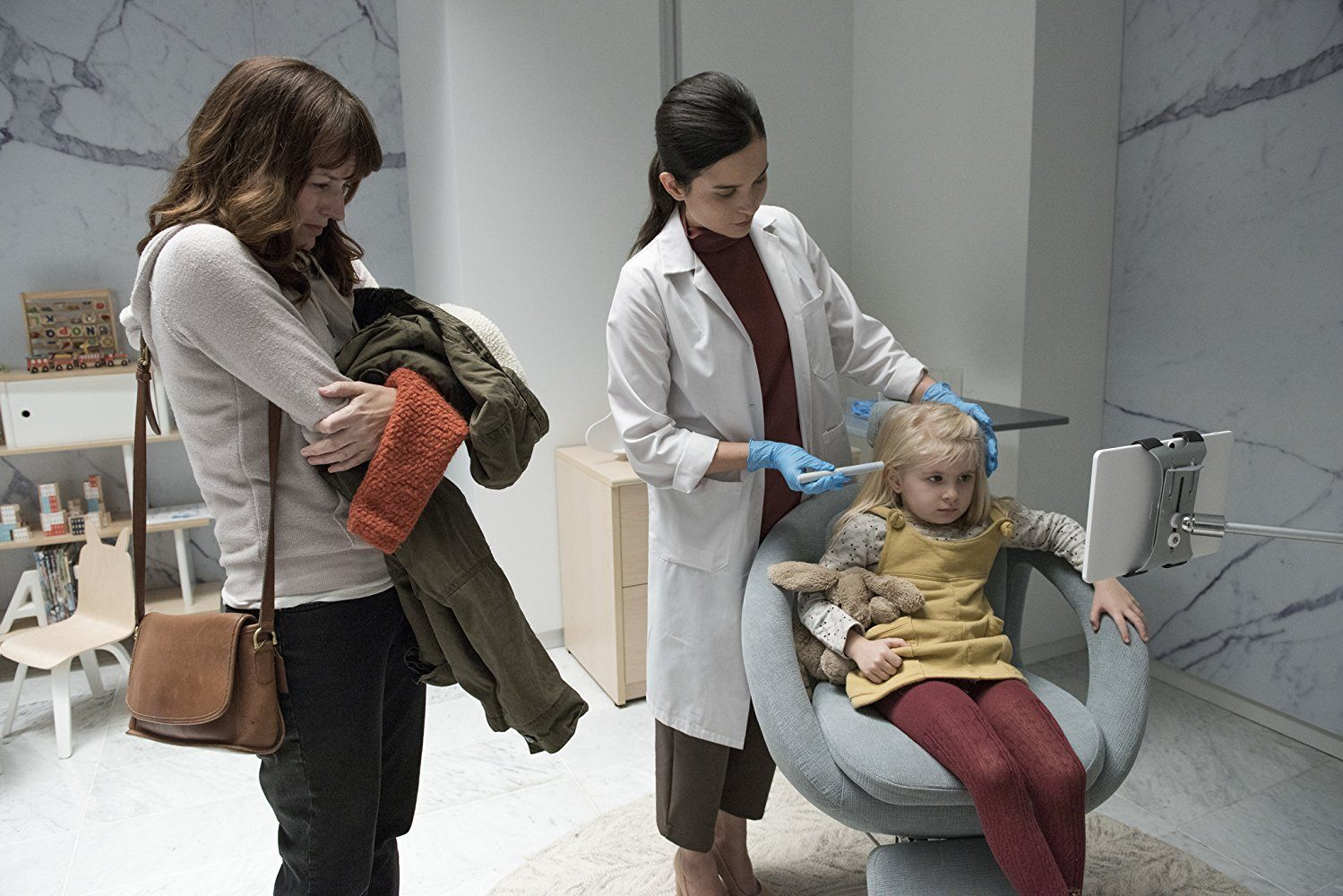 "Jenny Raven, Rosemarie DeWitt, and Aniya Hodge in the Black Mirror episode ""Arkangel"""