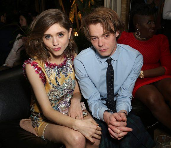 atalia Dyer (L) and Charlie Heaton attend the Entertainment Weekly Celebration of SAG Award Nominees