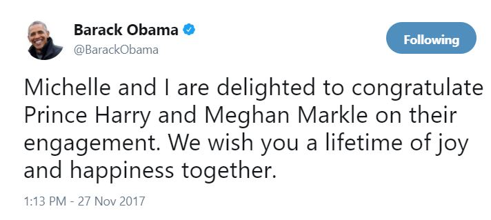 Obama tweeted this congratulatory message to the royal couple.