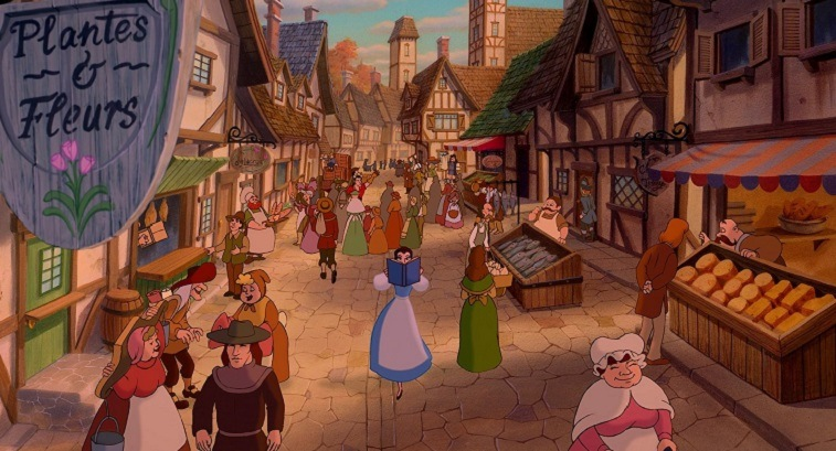 Belle surrounded by villagers in Beauty and the Beast