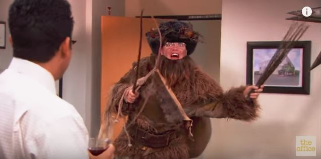 dwight schrute in the office dressed as the belsnickel