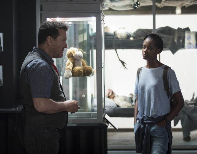 "Douglas Hodge and Letitia Wright in the Black Mirror episode ""Black Museum"""