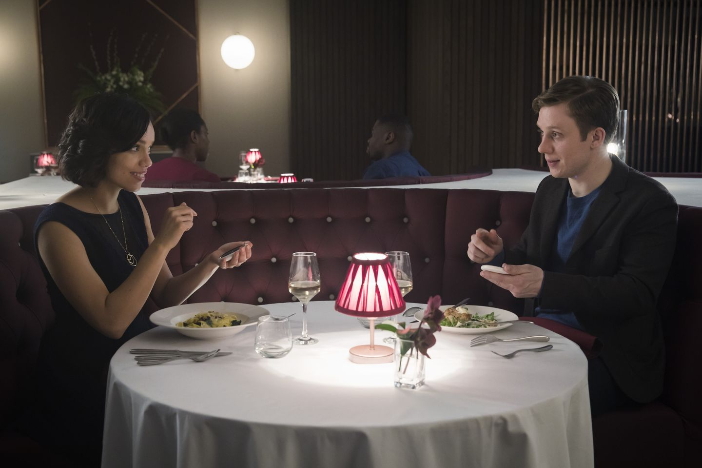 """Georgina Campbell and Joe Cole in the Black Mirror episode """"Hang the DJ"""""""