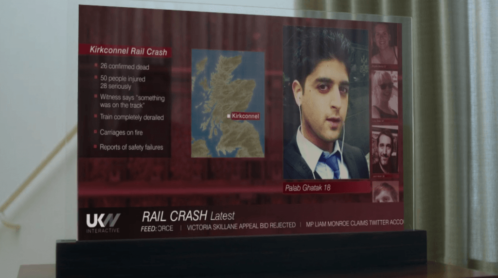 A TV screen with a news report