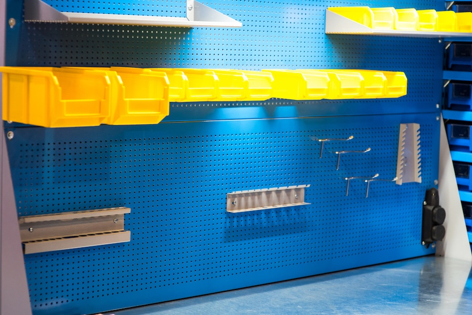 Blue and yellow tool board