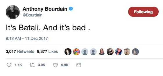 Anthony Bourdain reacts to the Mario Batali news