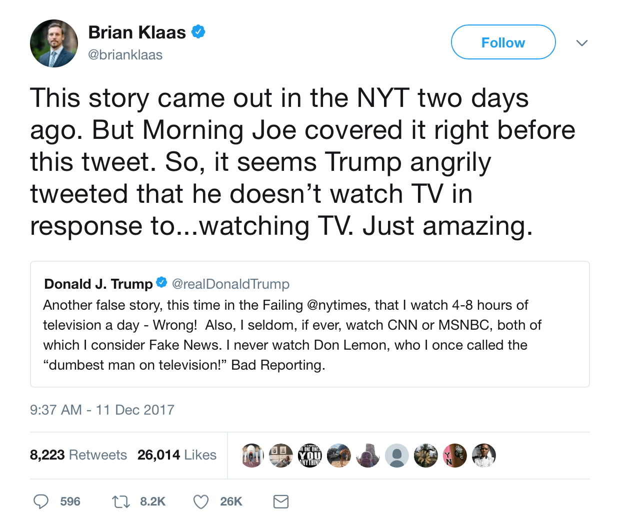 A screenshot of a tweet from Brian Klaas