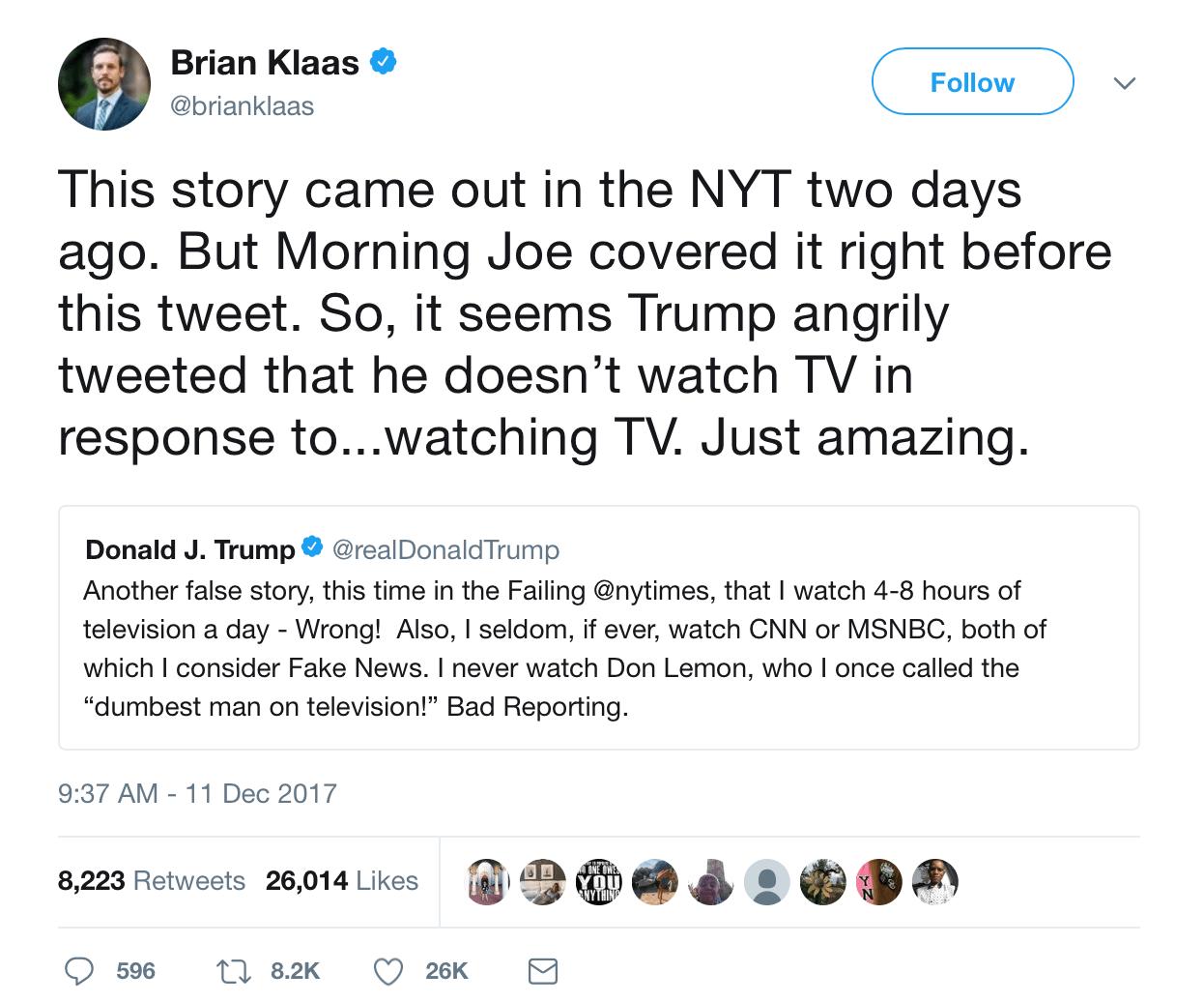 A screenshot of a tweet from Brian Klaas