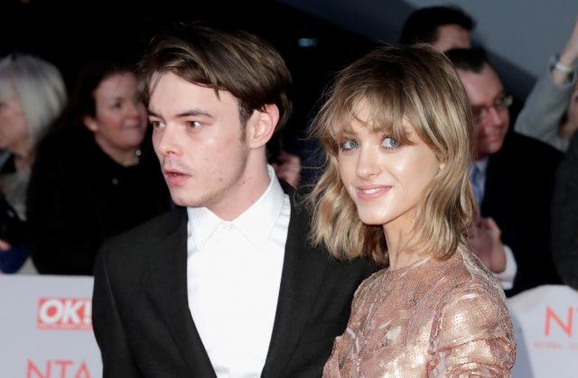 Charlie Heaton and Natalia Dyer pose together on the red carpet at the National Television Awards in London on Jan. 23, 2018.