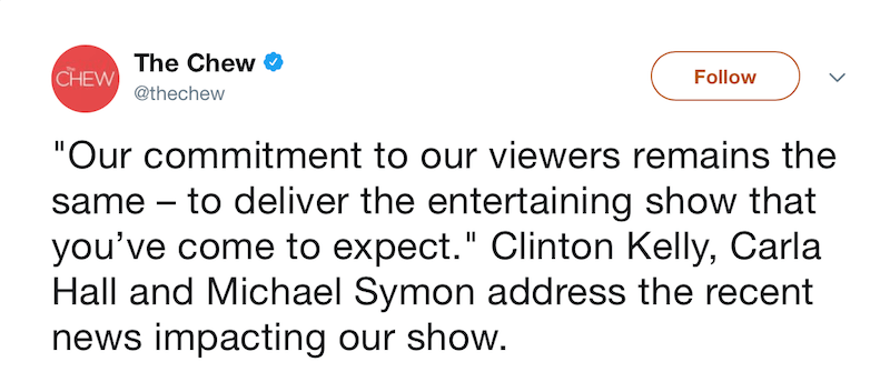 A screenshot of a tweet from The Chew on ABC